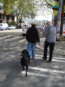 Greg and Jeff chat as we stroll through Seattle.